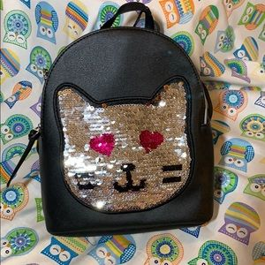 Sequined Kitty Backpack